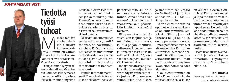 Toni Hinkka kolumni tiedotta työsi tuhoat keski-uusimaa lehti 10.1.2018